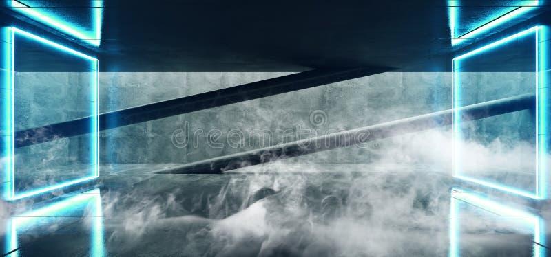 有被带领的白光的烟霓虹发光的曲拱门蓝色难看的东西具体明亮的科学幻想小说现代空的霍尔车库隧道走廊 皇族释放例证