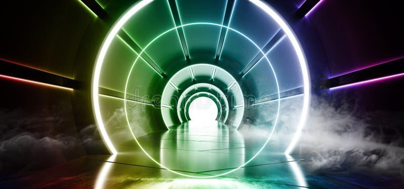 有被带领的蓝色白色绿色紫色彩虹的烟圈子科学幻想小说未来派圆的圆筒形状的走廊点燃发光与 向量例证