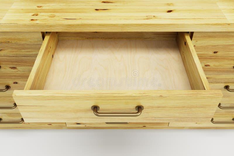 有被打开的抽屉的碗柜 向量例证