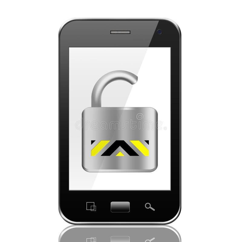 有被打开的挂锁象的,在白色backg的巧妙的电话智能手机 库存例证