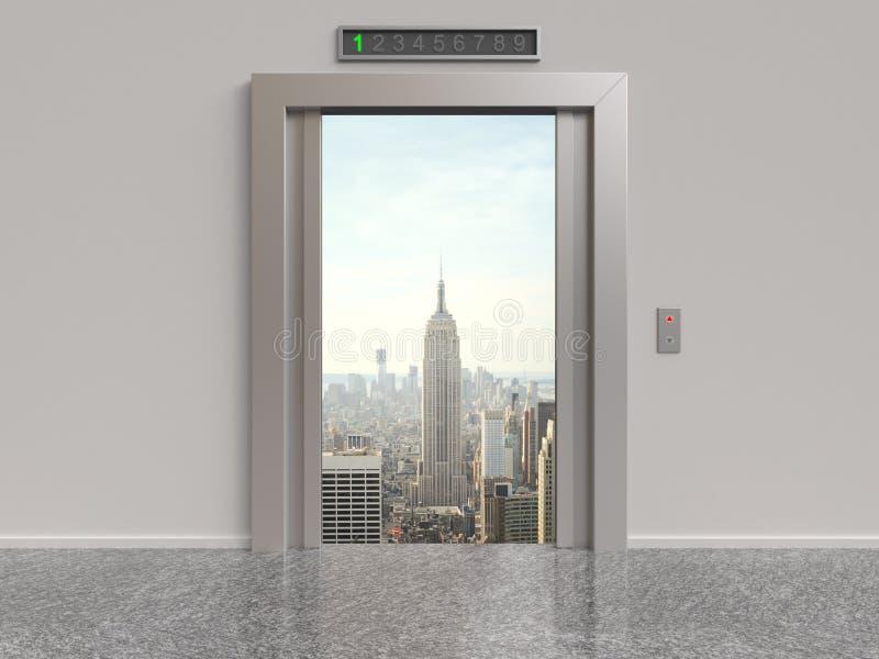 电梯和城市 皇族释放例证