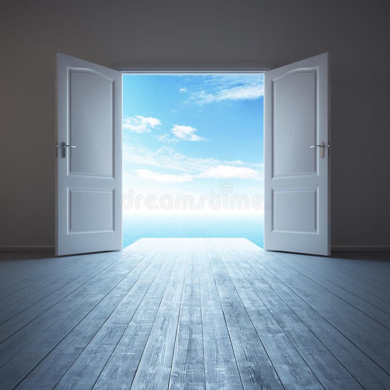 有被打开的门的白色空的室 库存例证