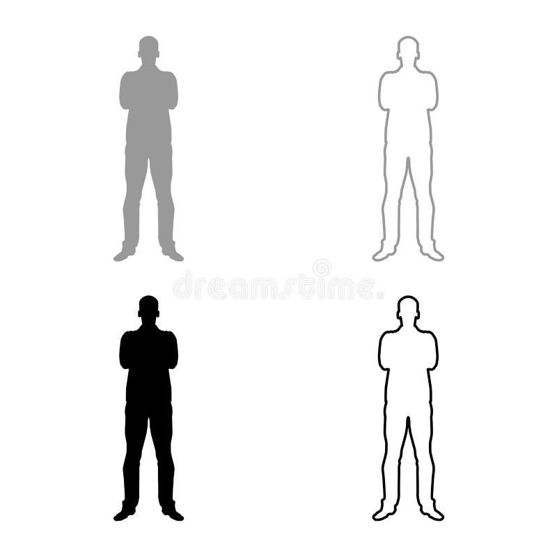 有被折叠的胳膊信心概念商人象的人设置了灰色黑色例证概述平的样式简单的图象 库存例证