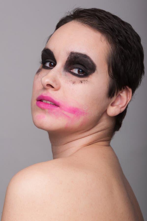 有被抹上的唇膏的美丽的妇女 库存照片