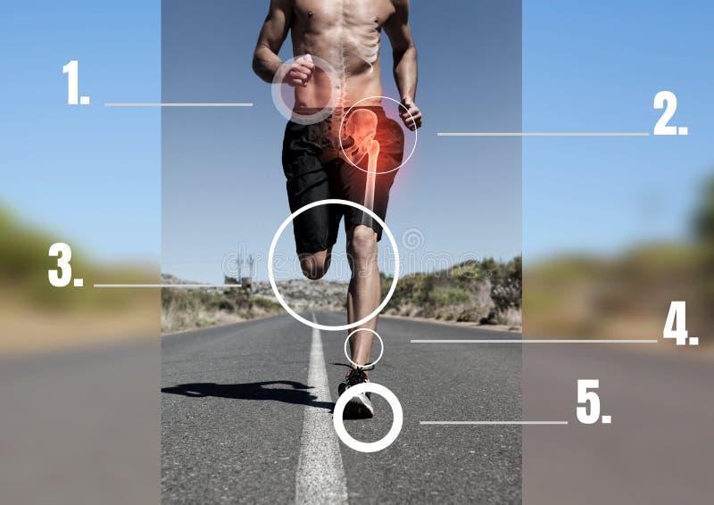 有被指出的骨头和痛苦地区的赛跑者 免版税库存图片