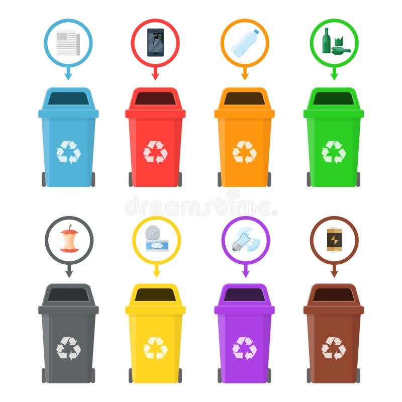 有被排序的垃圾的垃圾箱 向量例证
