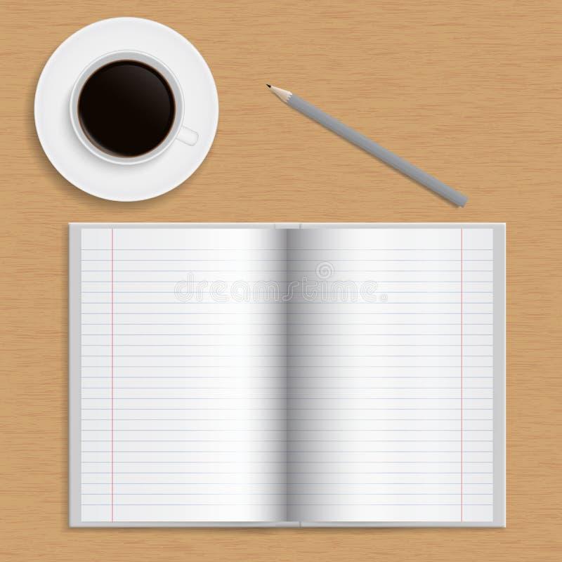 有被排行的纸、铅笔和古芝的现实开放学校笔记本 库存例证