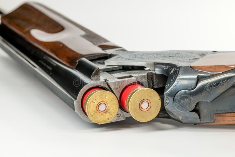 有被插入的两12测量仪壳的双重桶猎枪 免版税库存图片