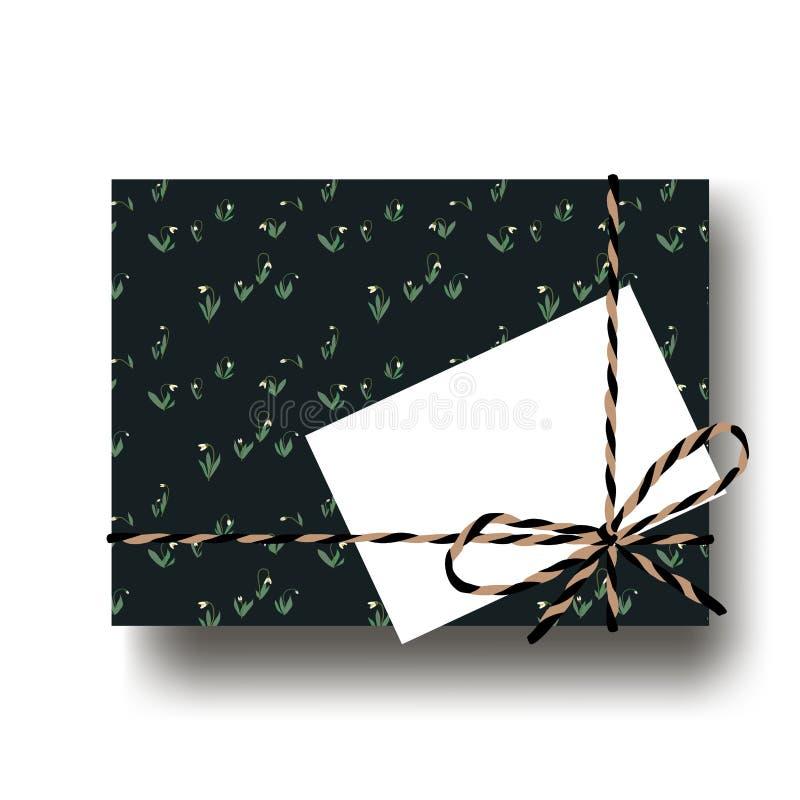 有被栓的串弓和空白的笔记的手拉的snowdrops礼物礼物箱子 包裹diy想法 也corel凹道例证向量 向量例证