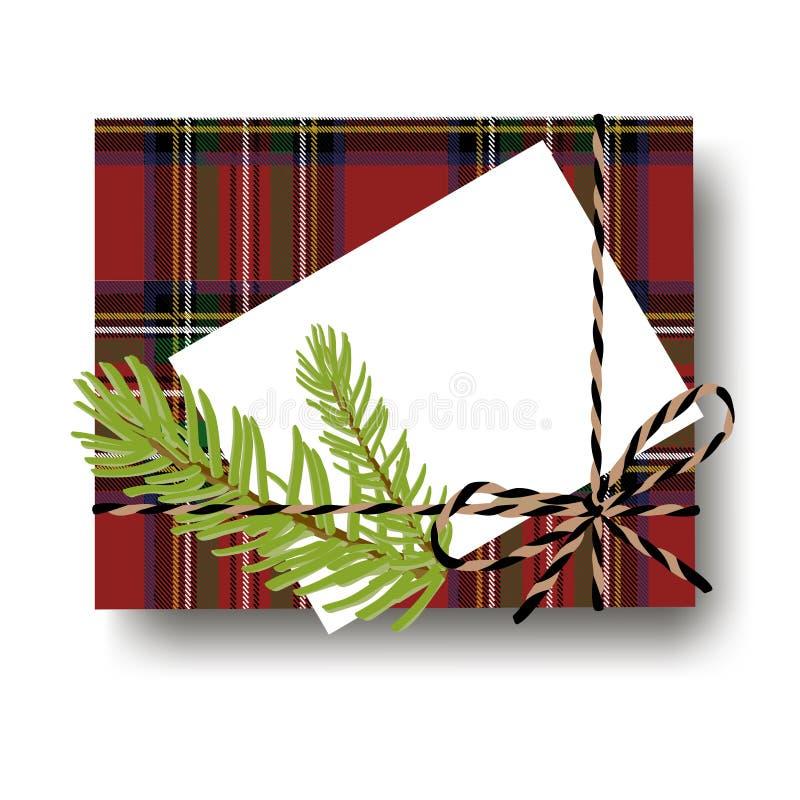 有被栓的串弓的被检查的格子花礼物礼物箱子和与拷贝空间的杉树分支和空白的笔记 包裹diy想法 皇族释放例证