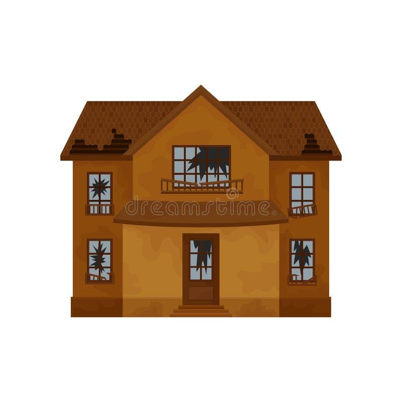 有被毁坏的屋顶、残破的窗口和门的两层棕色房子 老被放弃的村庄 平的传染媒介设计 向量例证