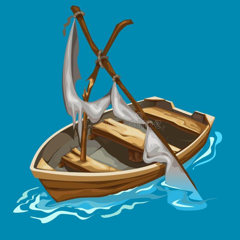 有被毁坏的风船的老划艇在水 向量例证