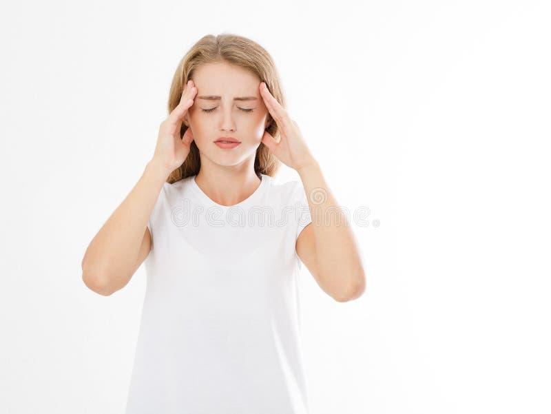 有被注重的被用尽的白种人的妇女强的紧张Headach 库存图片