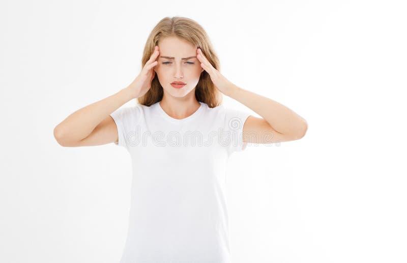 有被注重的被用尽的白种人的妇女强的紧张Headach 免版税库存照片