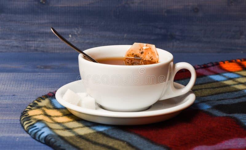 有被浸洗的袋子的茶杯子在方格的格子花呢披肩的茶 酿造在杯子的饮料的过程 秋天饮料概念 被填装的杯子 免版税库存照片