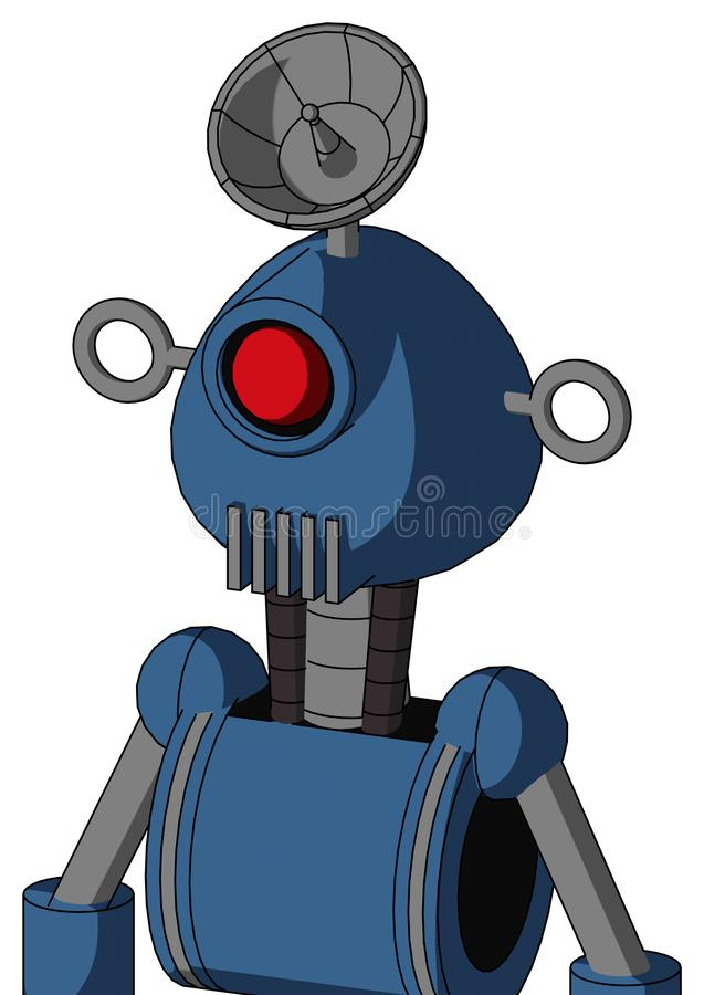 有被环绕的头和出气孔嘴的蓝色机器人和独眼巨人注视和雷达盘帽子 皇族释放例证