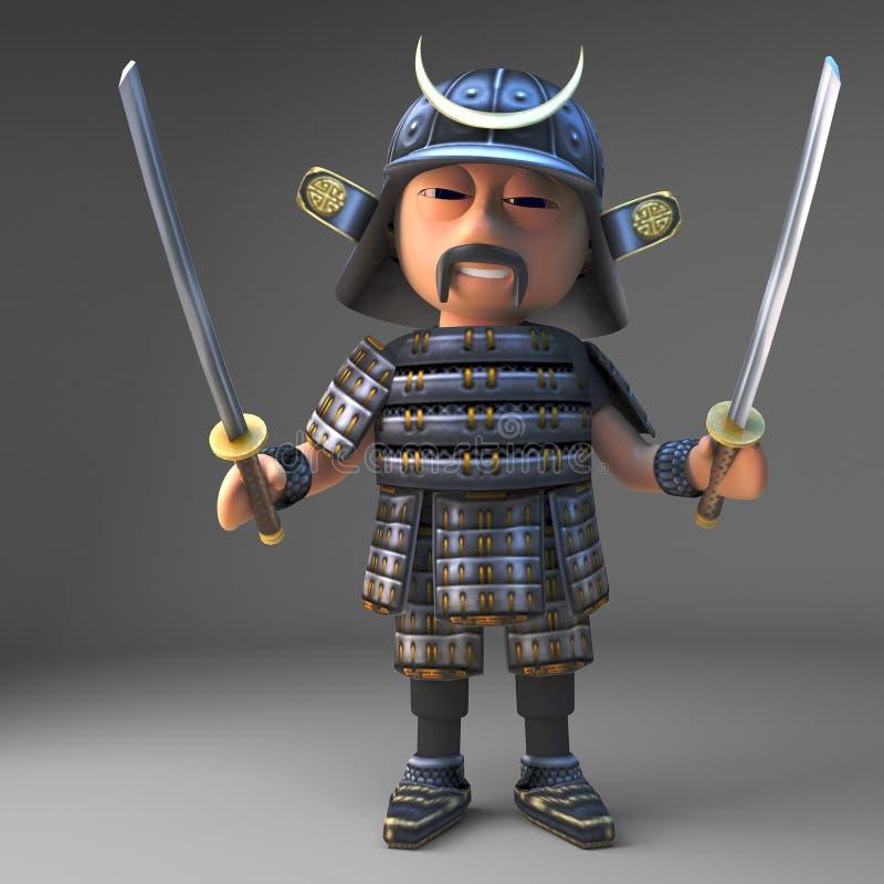 有被画的两把katana剑的高尚的日本武士战士,3d例证 库存例证