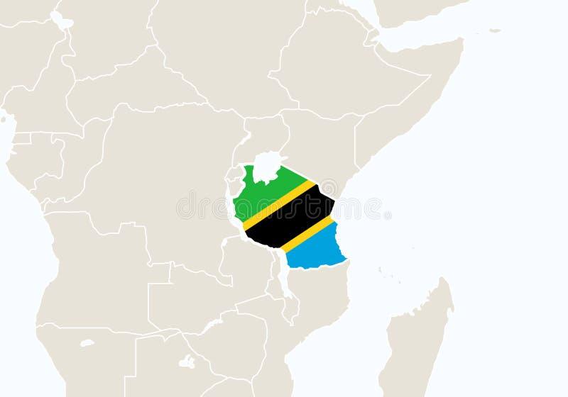 有被突出的坦桑尼亚地图的非洲 库存例证
