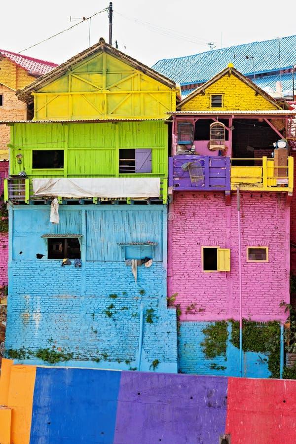 有被绘的五颜六色的房子的Jodipan Kampung Warna Warni村庄 免版税库存照片