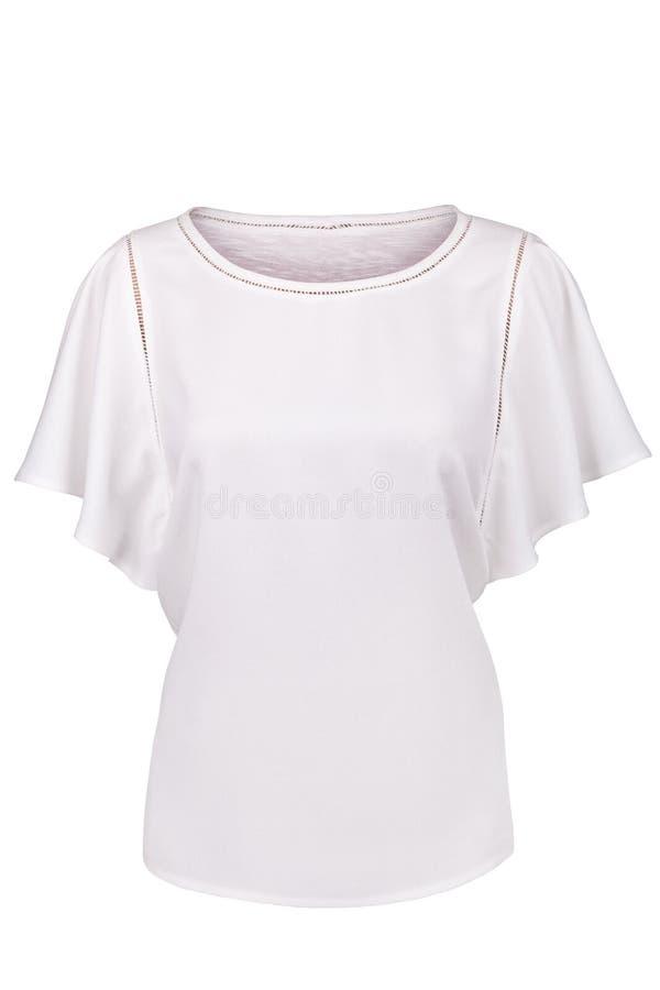 有被装饰衣裙的袖子的典雅的白色女衬衫 库存照片