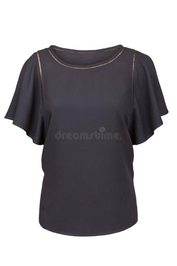 有被装饰衣裙的袖子的典雅的黑女衬衫 免版税库存照片