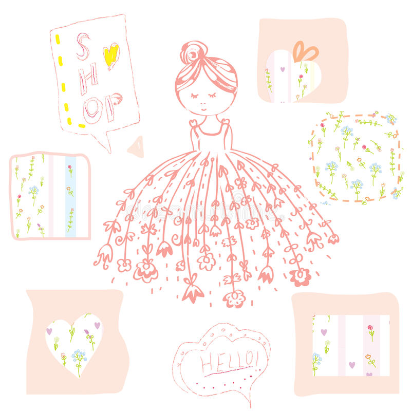 有被设置的花和框架的时尚女孩 库存例证
