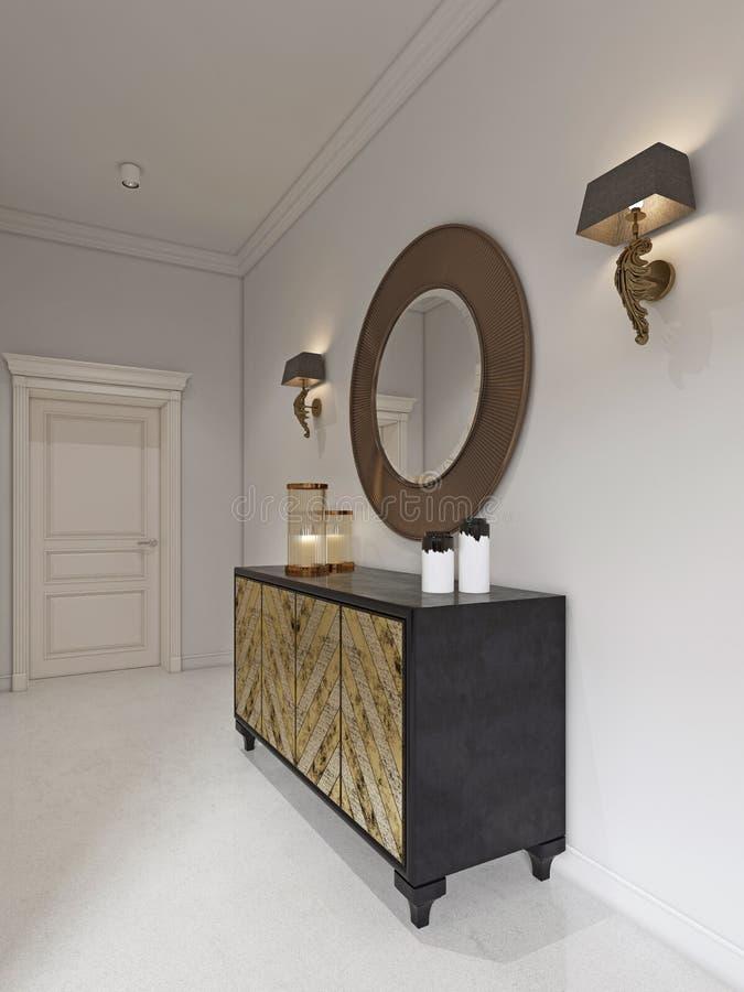 有被镀金的门面和古色的豪华艺术装饰样式梳妆台 在胸口和灯台的圆的镜子 库存例证