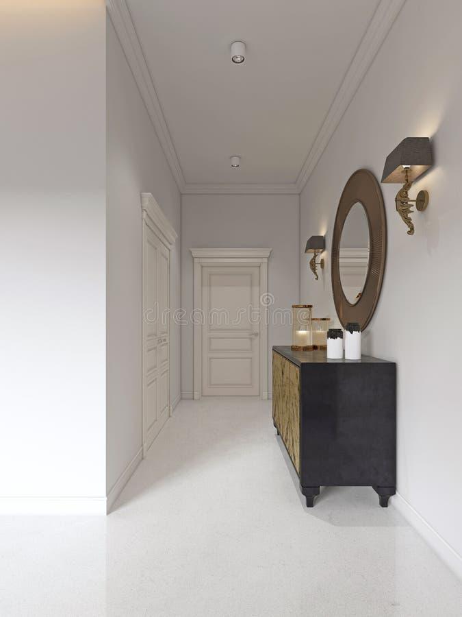 有被镀金的门面和古色的豪华艺术装饰样式梳妆台 在胸口和灯台的圆的镜子 向量例证