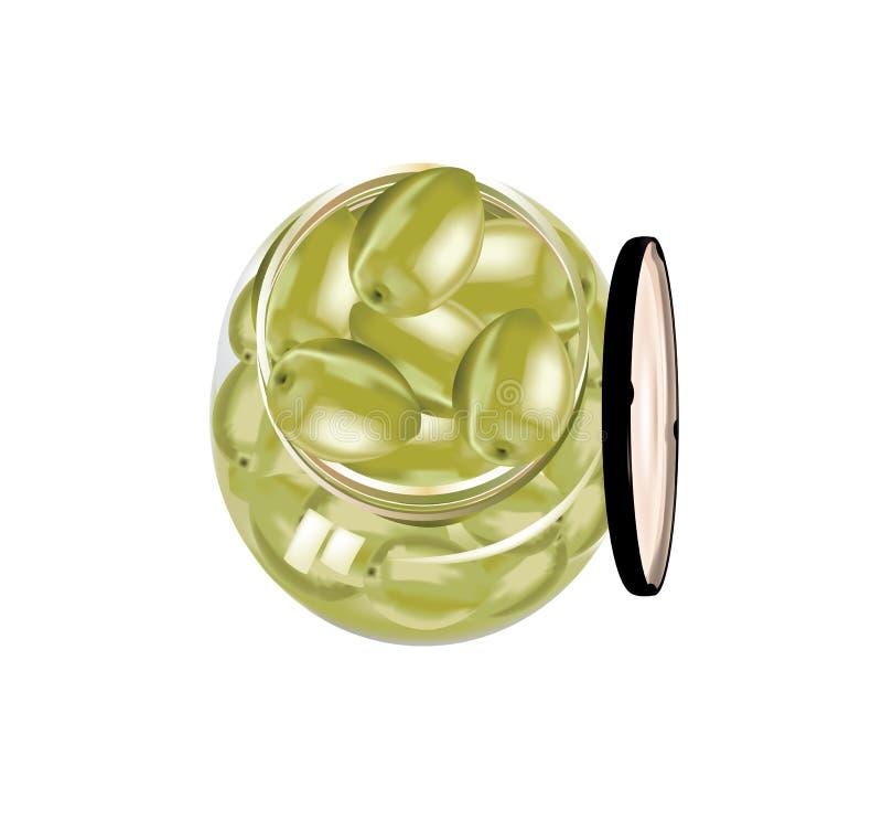 有被隔绝的油的新绿橄榄盖子 向量例证