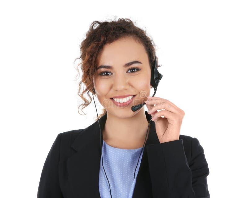 有被隔绝的耳机的非裔美国人的技术支持操作员 库存照片