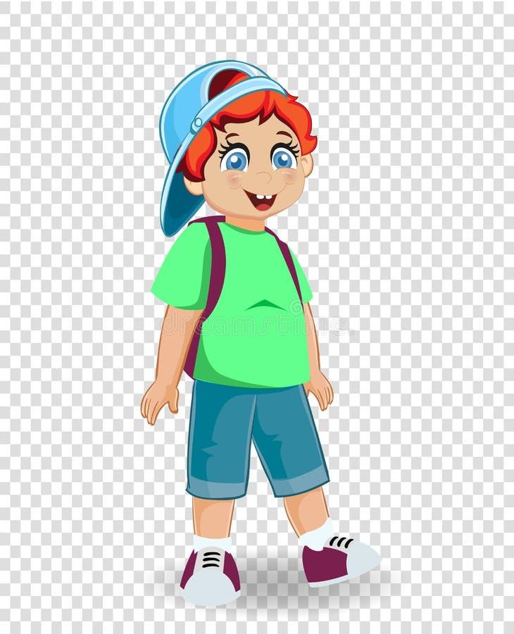 有被隔绝的背包的逗人喜爱的微笑的红头发人姜男小学生 向量例证