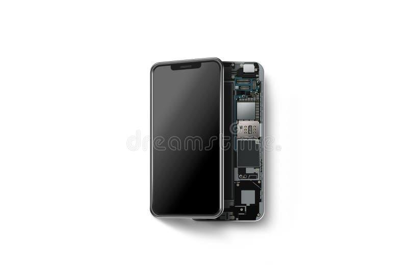有被隔绝的被打开的壳的,芯片新的现代巧妙的电话 皇族释放例证