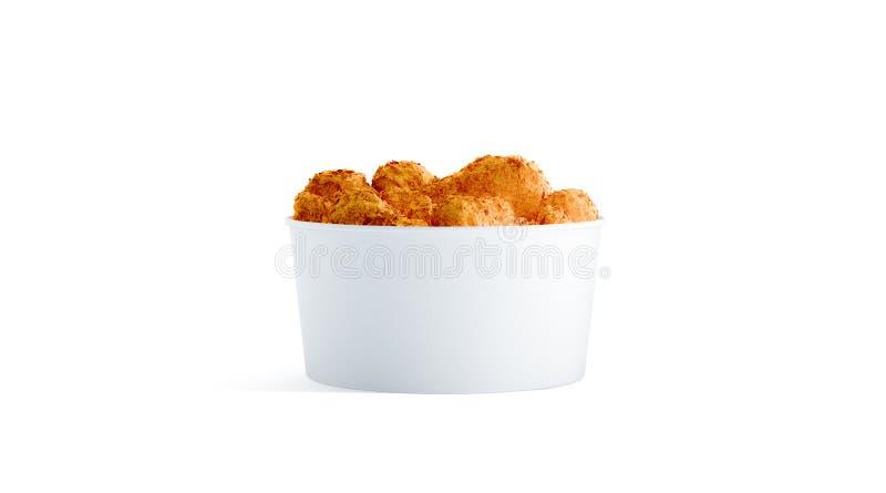 有被隔绝的鸡翼大模型的空白的白色小食物桶 免版税库存图片