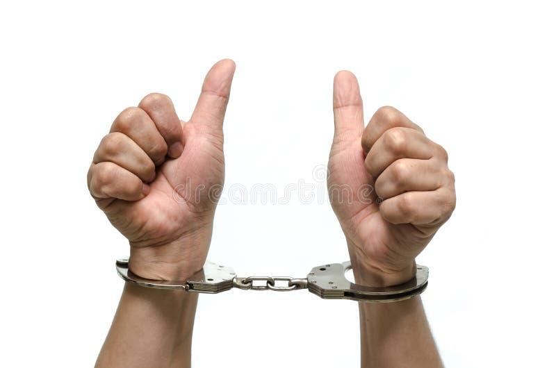 有被隔绝的手铐的人手 免版税图库摄影
