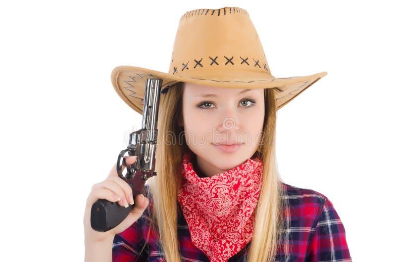 有被隔绝的枪的女牛仔妇女 图库摄影