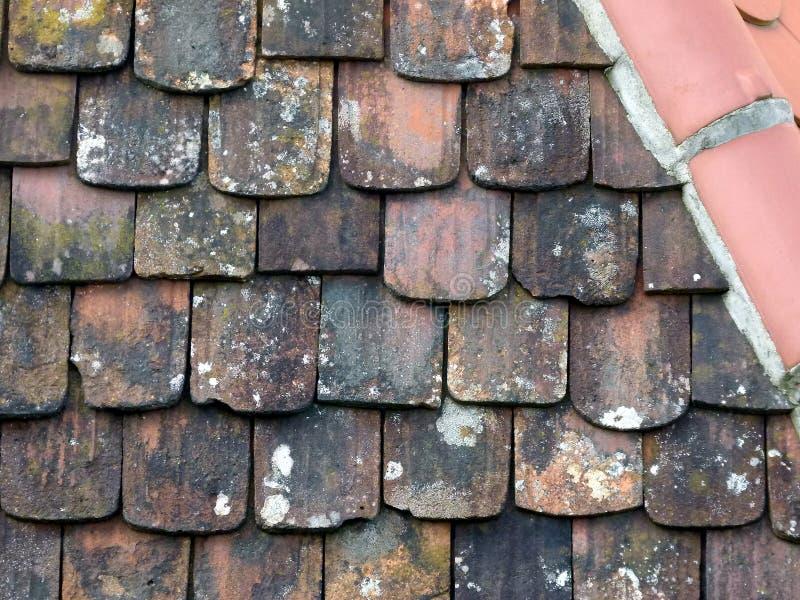 有被风化的黏土瓦和新的屋脊瓦的屋顶 图库摄影