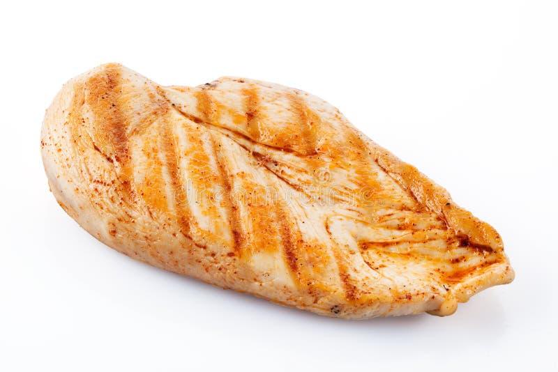 有裁减路线的烤鸡胸脯 图库摄影