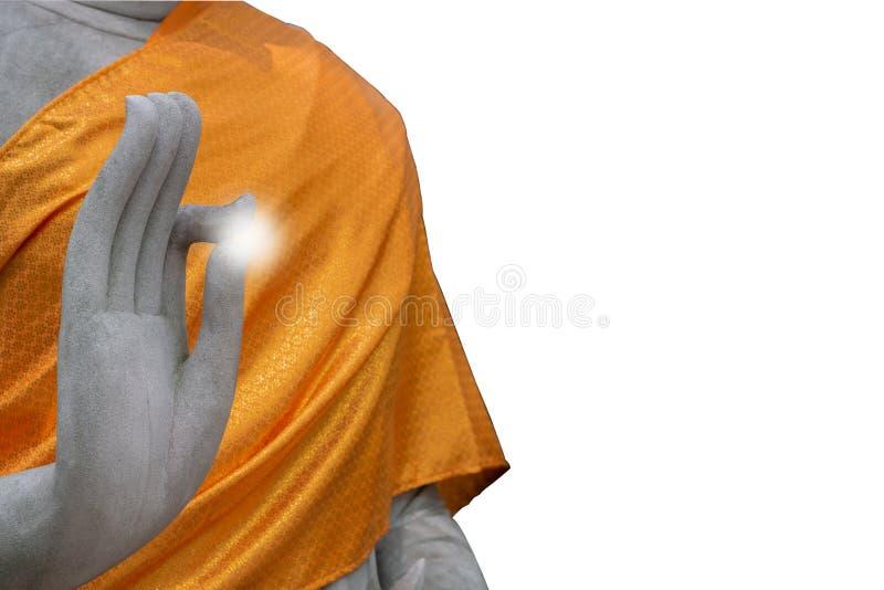 有裁减路线的白色石头菩萨培养手,被隔绝 免版税库存图片