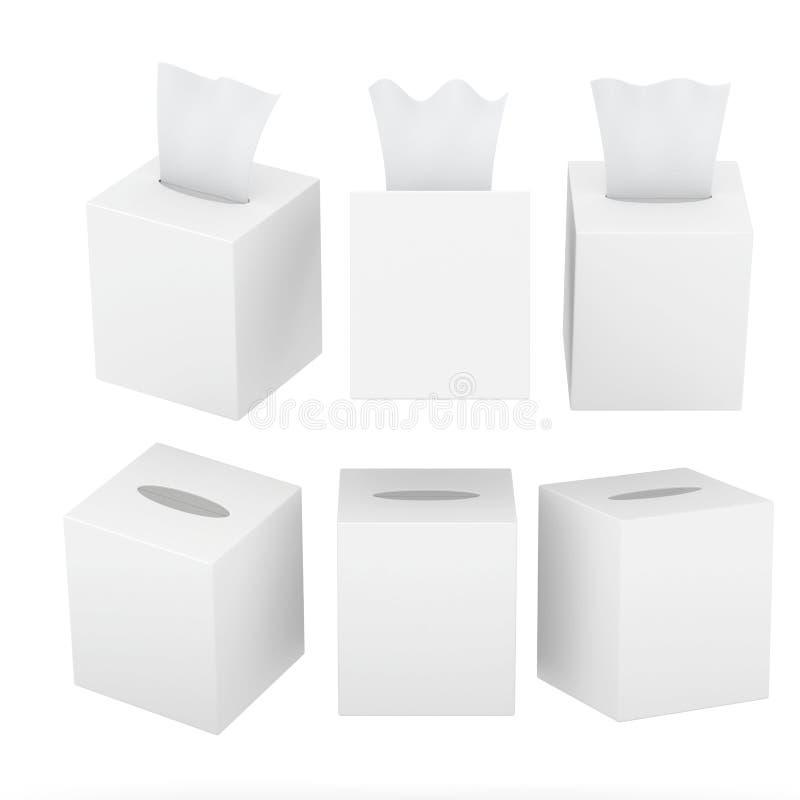 有裁减路线的白色空白的方形的大小组织箱子 库存例证