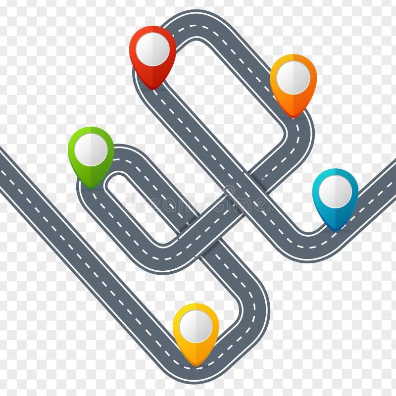 有装配标记或Pin尖的路 向量 向量例证