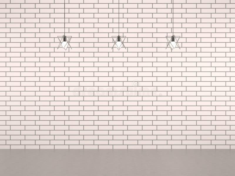 有装饰灯的客厅白色砖墙 免版税库存照片