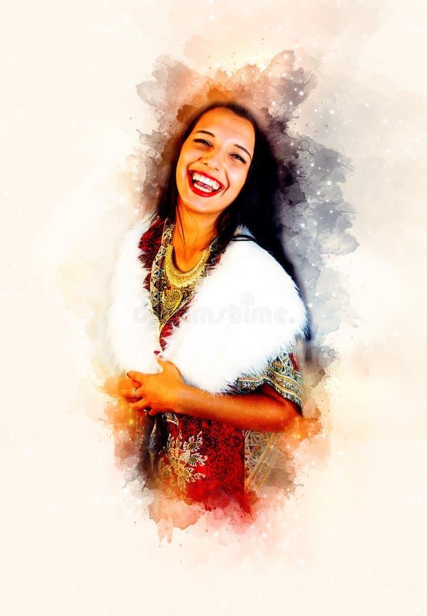 有装饰礼服的微笑的少妇和白色毛皮和软软地被弄脏的水彩背景 向量例证