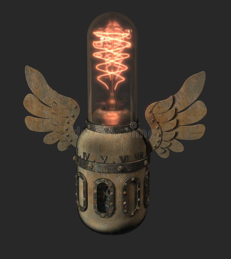有装饰翼和c的被回报的steampunk样式爱迪生灯 皇族释放例证