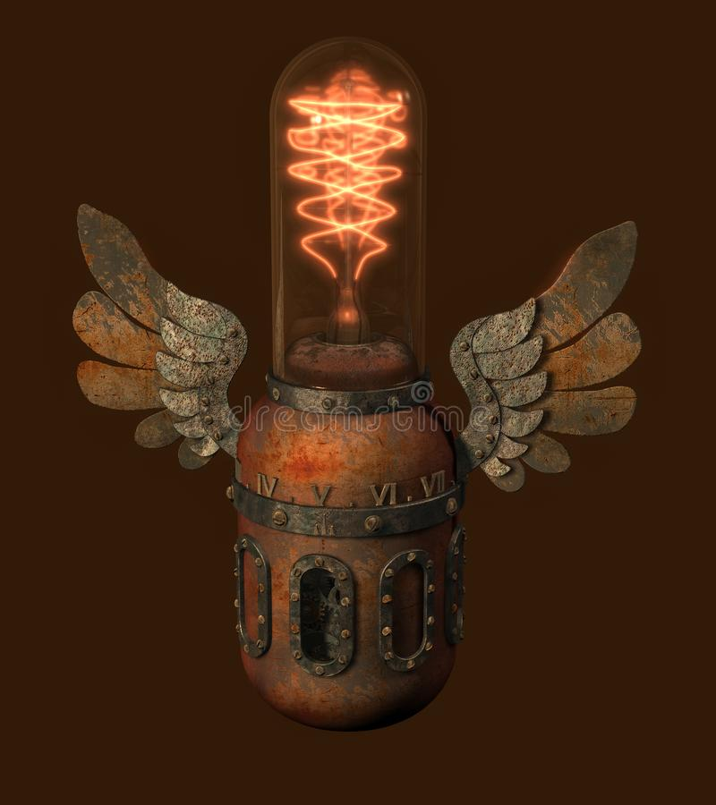 有装饰翼和c的被回报的steampunk样式爱迪生灯 库存例证