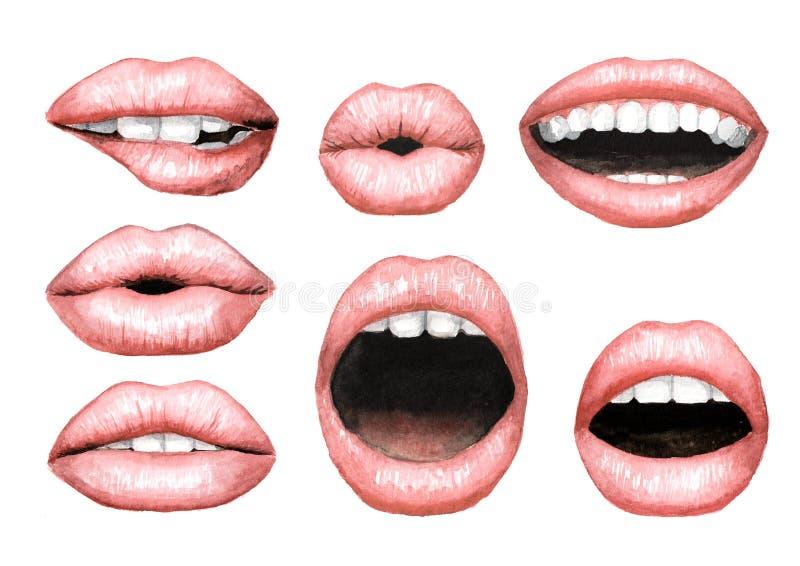 有裸体唇膏集合的肥满松的桃红色嘴唇 水彩手拉的例证,隔绝在白色背景 皇族释放例证
