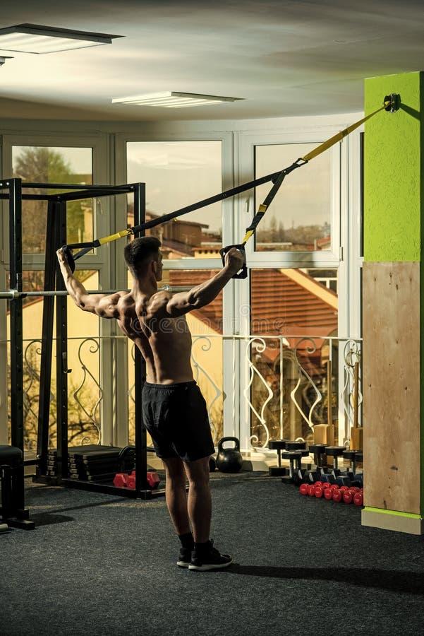 有裸体躯干的人和在健身房的肌肉后面喜欢训练, trx 体育和健身房概念