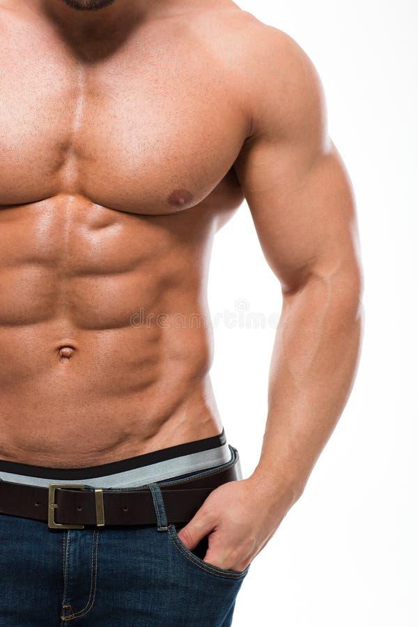 有裸体躯干的肌肉人 免版税库存照片
