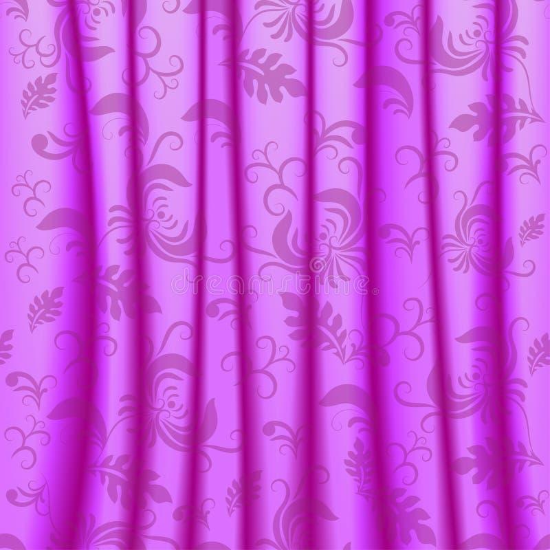 有褶和damsk装饰品的帷幕 向量例证