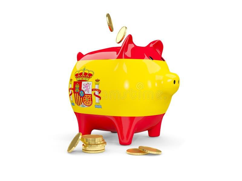 有西班牙的旗子的肥胖存钱罐 向量例证