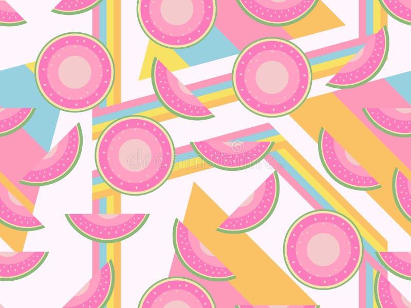 有西瓜无缝的样式的孟菲斯 单独冻结的结构树 夏天背景用果子 向量 皇族释放例证